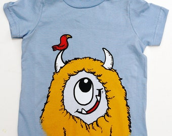 Kid's Monster T-Shirt - Light Blue with Yellow Monster size 4T
