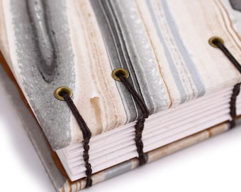 Unlined Journal - Lay Flat Journal - Gold and Black Agate Marbled/Marbelized Paper - 160 pages - handbound by Ruth Bleakley