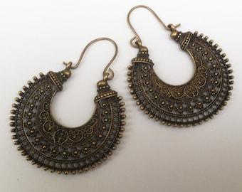 Tribal Statement Earrings , Bronze Earrings , Large Hoop Earrings , Tribal Earrings , Boho Earrings , Large Earrings , Handmade Jewelry