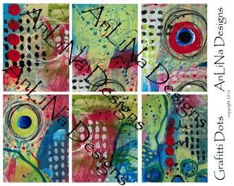 Grafitti Dots Printable Art Journal Cards, 3x4, Digital Download
