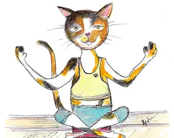 Calico Cat Yoga Cat -  Cat Watercolor Painting - Watercolor Cat PRINT - Calico Cat Yoga Print - Nursery Wall Art - Yoga Gift -  Cat Gift