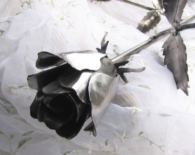 Long Stemmed Rose Sculpture Recycled Metal Art