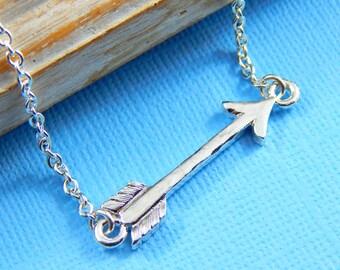 Silver Arrow Necklace, Sideways Arrow Necklace, Bar Necklace, Layering Necklace