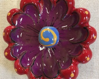 Red and Purple 3D Flower Ceramic Mosaic Blossom