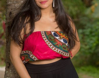 Ladies Pink Floral Dashiki Ankara African Fabric Wax Print Strapless Tube Crop Top