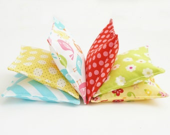Girl Bean Bag Set - Set of 6 Washable Beanbags - Kids Bean Bag Toss - Birthday Game - Toddler Birthday Gift - Pink, Green - Poly Pellets