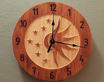 Pine celestial sun and moon clock Celestial clock Sun clock Moon clock Star clock Wall clock Wood clock Wooden wall clock Home clock
