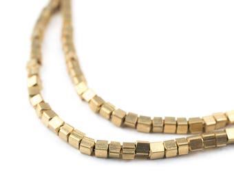 150 Brass Cube Beads: Ethnic Metal Beads Metal Spacer Beads Boho Brass Beads 2mm Brass Beads Brass Block Beads (MET-CUB-BRS-572)