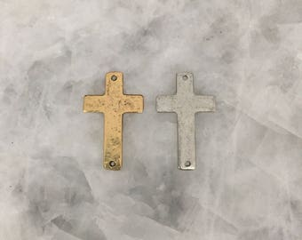 Cross Connector Pendant, Hammered 33mm, TWO HOLES, Gold or Silver Sideways, Lead Free Pewter