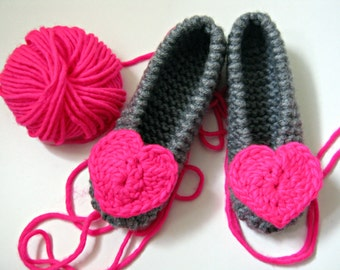 Neon Pink Heart Slippers, Knitted Ballet Flats, Girls Slippers, Womens Slippers, Houseshoes, Wedding Party Gift, Bridesmaid Gift, Bridal