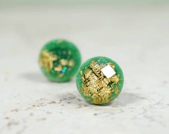 Emerald Green and Gold Flake 12mm Stud Earrings, Simple Jewelry, Minimal Earrings, Light Plastic Studs, Checkerboard Cut Posts