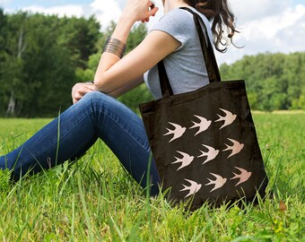 Swallows Pattern, Canvas Tote Bag, Shopping Bag, Gift for Her, Cotton Tote Bag, Shopper, Canvas Bag, Market Bag, Grocery Bag, Reusable