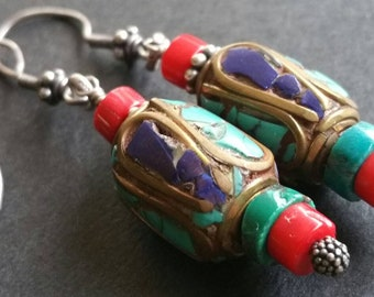 Zen Earrings Nepalese Turquoise and Lapis Lazuli beads with Red Coral and Tibetan Turquoise