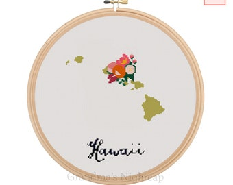 Hawaii Cross Stitch Pattern Modern Cross Stitch Pattern Counted Cross Stitch Pattern Hawaii Art Hawaii State Art Hawaii Pattern