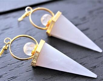 Rose Quartz Earrings Rose Quartz Jewelry Fortune Teller Earrings Fortune Teller Jewelry Crystal Ball Earrings Boho Earrings Boho Jewelry