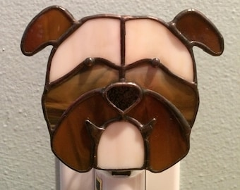 Bulldog Stained Glass Dog Night Light