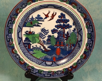 UNIQUE and UNUSUAL Antique Wedgwood Etruria Willow MultiColor Plate Hand Painted 1906