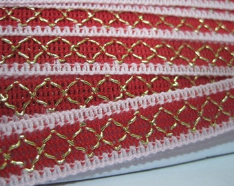 5 yards Soft Pink-Red Ribbon with Gold embroidered, ribbon, wholesale trim, gold metallic trim, pink ribbon, pink trim, red ribbon, red trim