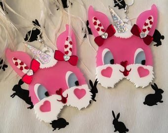 Jeanette Converse x I'm Your Present My Bunny Valentine Laser Cut Acrylic Earrings