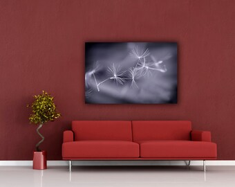 Grey Stretched Canvas Print, Ethereal Dandelion Photograph, 16x24 Gallery Wrap Canvas, Ready to Hang Wall Art, Wispy Macro Photography