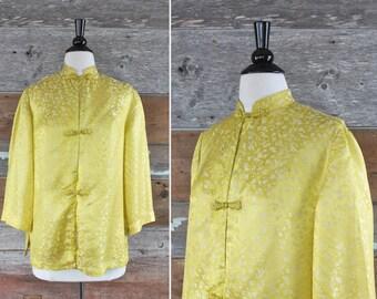 années 1960 chinois jaune blouse en soie | taille l - xl