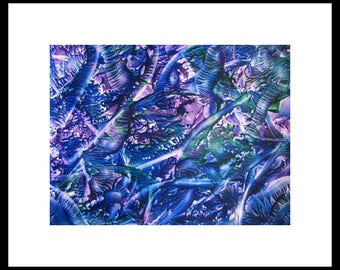 8X10 Am I Blue? Encaustic (Wax) Abstract Original Painting / Blue, Purple, Green, Teal / SFA (Small Format Art)