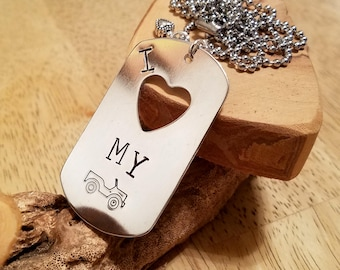 I Heart my Jeep I love my Jeep large hand stamped dog tag necklace with heart charm custom sized chain too
