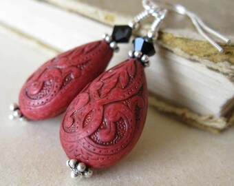 Bordello lace Red and black etched teardrop earrings in sterling