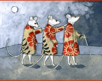 Three Blind Mice with Floral Coats, 5 x 7 Hand Made Card
