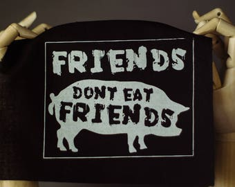 Friends not Food Patch | Punk patch | Screen print | Patches for Jacket | Metal patch | Animal Rights Patch | Liberation Patch | Vegan Patch