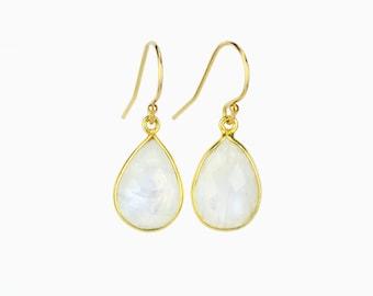 Rainbow Moonstone Earrings, June Birthstone Earrings Everyday Gold earrings, Bridesmaid earrings, Framed Stone, Teardrop GemStone earrings
