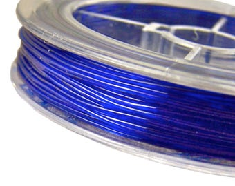 Stretch Cord for Jewelry - Sapphire Blue Cobalt Rubber Elastic Floss - Necklace String Findings or Crafts DIY - 3' / 1 Yard / 3 Feet  - .8mm