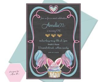 Cotton Candy Invite, Cotton Candy Invitation, Sugar Candy Invite, Sweet Celebration, Fairy Floss, Girls Birthday Invite, Candy Invite
