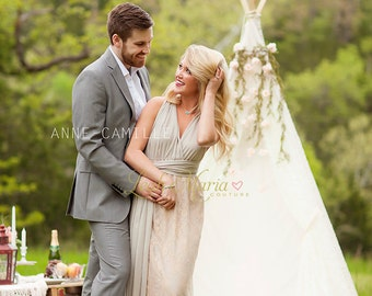 """The """"Kendra"""" Infinity Gown- Infinity Dress  - Convertible Dress - Lace Dress - Lace Gown - Photo Shoot Dress - Photo Prop - Engagement Shoot"""