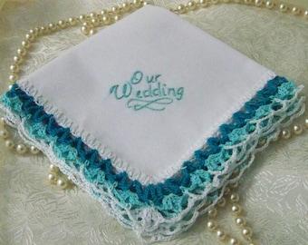 Hochzeit Taschentuch, Braut Hanky, individuell bestickt, Teal, Aqua, gehäkelten, Spitze, Braut Andenken, bereit zu versenden