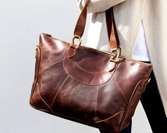 Large Leather Handbag Purse in Vintage Brown