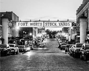 Fort Worth Stock Yards - Black and White - Fort Worth, Texas, Fine Art Print