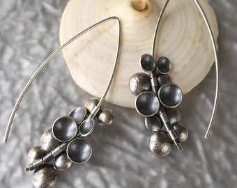Tiny Disc Bead Earrings//Contemporary Earrings//Silver//Oxidized Silver//Mixed Metal