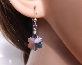Snowflake earrings, Christmas earrings, winter earrings, clear earrings, sterling silver ear wires
