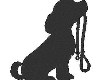 Dog Silhouette - Puppy - Embroidery Design File - Instant Download - 5 x 7 hoop
