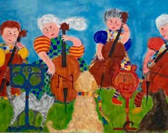 Folk art print of original acrylic painting of cello group