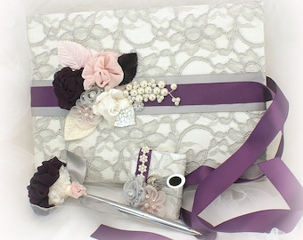 Wedding Guest Book Plum Purple Gray Ivory Pink Lace Guestbook Vintage Style Signature Guests Sign in Book and Pen