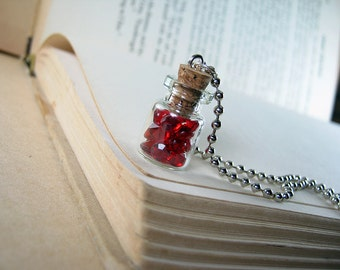 Red Gems 0.5ml Glass Bottle Necklace Charm - Bottle of Rubies  Vial Pendant - Red Rubies Diamond Gems