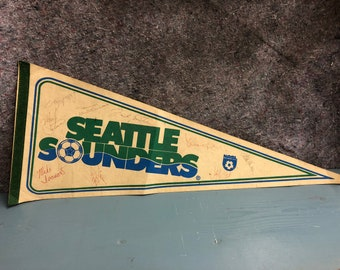 Vintage Signed Seattle Sounders Pennant