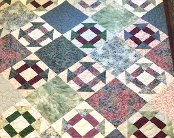 Monkey Wrench Quilt Constructed in Scrappy Cottons of Blues and Burgundy