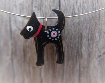 Dog Pendant, Handpainted Enameled Stainless Steel Jewelry, Black Pendant Necklace, Quirky Fun Whimsical Jewelry
