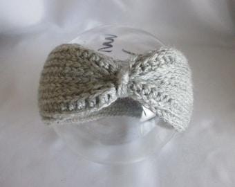 Baby Headband Light grey selfmade turban Ear warmer gray Earwarmer headband