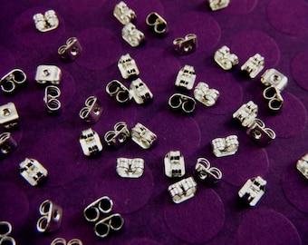 50 Silver Butterfly Earnuts For Post Earrings Backs 6x4mm