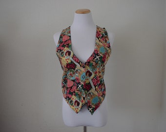 FREE usa SHIPPING Vintage womens Valentines sleeveless vest/top revival 1990's