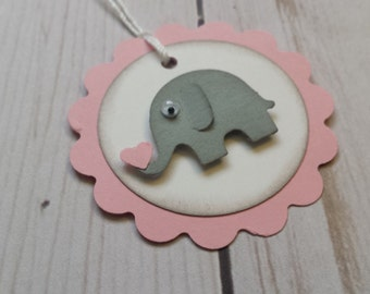 Baby Elephant Tags, Elephant Tags, Baby Tags, Baby Shower Thank You Tags, Baby Elephant, Baby Girl